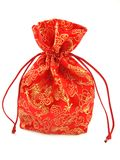 Red cloth bag on a white background stock photography