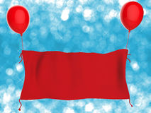 Red cloth banner hanging with red balloons. 3d rendering red cloth banner hanging with red balloons Stock Photography