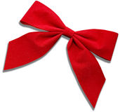 Red Cloth Bow. On white background Stock Photos