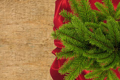 Red cloth with fir tree branch over wooden texture close-up Royalty Free Stock Image
