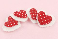Red cloth hearts Royalty Free Stock Photos