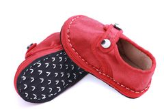 Red cloth shoes for children stock photos