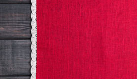 red cloth with white linen woven handmade lace Stock Image