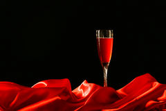 Red cloth and wine glass Stock Photo