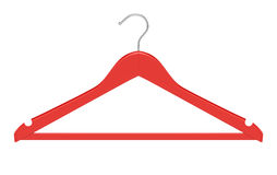 Red clothe hanger isolated on white background. 3d render of red clothe hanger isolated on white background Stock Photo