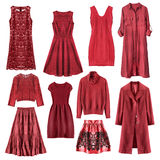 Red clothes isolated Stock Images