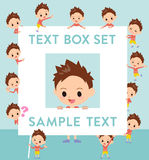 Red clothing short hair boy text box Stock Images