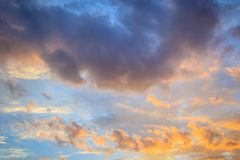 Free Red Cloud And Blue Sky Background. Dramatic Sunset Sky Began To Change From Blue To Orange. Stock Photography - 120924402