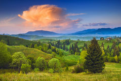 Red cloud in a Carpathian sky Royalty Free Stock Photos
