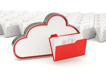 Red cloud drive icon with folders Royalty Free Stock Image