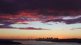 Red cloud Sydney sunset Stock Images