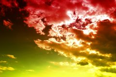 Red Clouds. Abstract view on clouds in the sky Stock Images