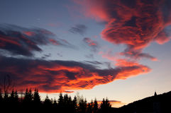 Red clouds in the Alps. Europe Stock Photography