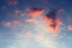 Red clouds on blue sky. At sunset time Royalty Free Stock Photo