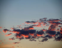 Red clouds at dawn. Red orange clouds at dawn Stock Images