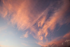 Red clouds at dusk Royalty Free Stock Image