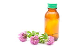 Red clover with bottle Stock Photography
