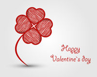 Red cloverleaf from scribbled hearts Stock Photography