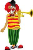 Red clown. Plays a trumpet Royalty Free Stock Photos