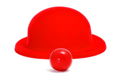 Clown nose and bowler hat Royalty Free Stock Photo