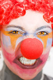 Red Clown Rage. Face Of A Entertainer Clown Throwing A Fit Of Red Clown Rage Isolated On A White Background Royalty Free Stock Photo