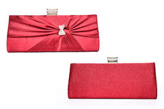 Red clutch with diamond bow.  Royalty Free Stock Image