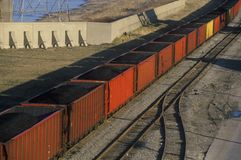 Red coal cars in East St. Louis, Missouri Royalty Free Stock Photography