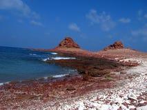 Red Coast. A beautiful colored coast in Socotra Island - Yemen royalty free stock image