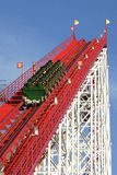 Red Coaster 01. Red / White Roller Coaster and Car Royalty Free Stock Photography