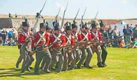 Red Coat Soldiers Making A Charge At Fort George Royalty Free Stock Photos