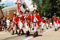 Red Coats on the Fourth of july stock photography