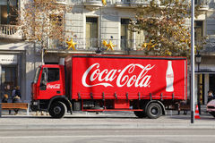 Red Coca Cola delivery truck Stock Photo