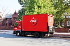 A red Coca-Cola delivery truck Stock Photography