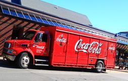 Red Coca Cola Truck. Delivering drinks to customers Royalty Free Stock Photography