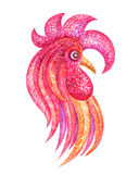 The red cock. Fiery rooster - a symbol of new 2017 on the Chinese horoscope. Watercolor  painting Royalty Free Stock Photography