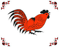 Red cock in a folk style. On the white background. Symbol of Chinese horoscope, zodiac sign and folklore personage. Vector suitable as part of the ornament Royalty Free Stock Photo