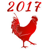 Red cock. Symbol of Chinese New Year. Vector illustration. In full growth. 2017 Stock Photo