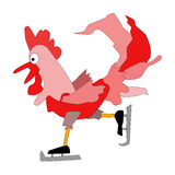 Red cock - a symbol of 2017. Happy New Year red rooster. Red Rooster skating. Happy New Year red rooster Stock Photography
