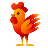 Red Cockerel. Cartoon bird character. White background. Vector illustration. Royalty Free Stock Photo
