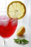 Red Cocktail. Drink with ice and lemon stock photography