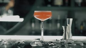 Red cocktail on the bar.  stock video footage