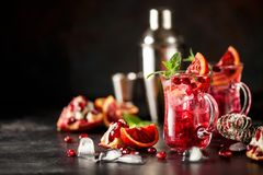 Red cocktail with blood orange and pomegranate. Refreshing summer drink on dark background stock images