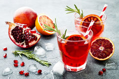Red cocktail with blood orange and pomegranate. Refreshing summer drink. Holiday aperitif for Christmas party. Red cocktail with blood orange and pomegranate stock images