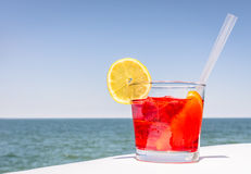 Red Cocktail in a bright Summer Day Royalty Free Stock Photos