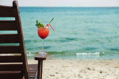 Red Cocktail. E in the seaside with mint Stock Photography