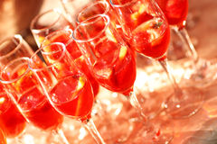 Red cocktail glass wedding day lemon Stock Photography
