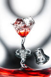 Red cocktail with ice Royalty Free Stock Photos