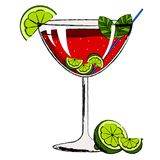 Red cocktail with lemon slices. Vector illustration design royalty free illustration