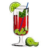 Red cocktail with lemon slices. Vector illustration design stock illustration