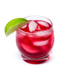 Red cocktail with a lime Stock Images